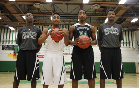 From left to right: #4, Sekou Mtayari Jr. , #5, Teyontae Jenkins, #34 Samuel Williams Jr. , #11, Terrance Bush Jr.