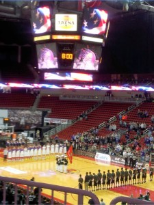 Last nights North vs. Waukee game at Wells while the National guard was preforming. The polar bears took the win with 62-61
