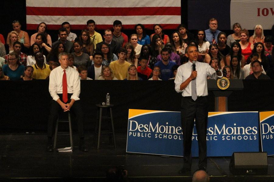 President Obama and Arne Duncan, secretary of education, speaks to students, staff, and families about college affordability.