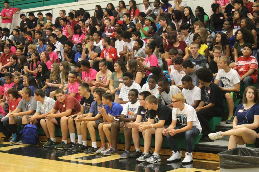 All the freshmen filled the bleachers at orientation on August 18, 2016.
