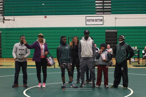 Seniors Meshach and Shadrach Zarwie bring their family to get honored on senior night.